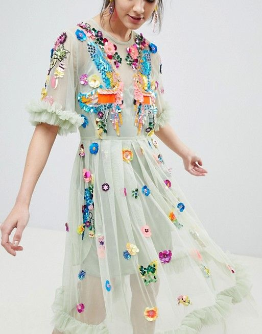 8e6c95b6d8849 EDITION Bird Embellished Smock Midi Dress