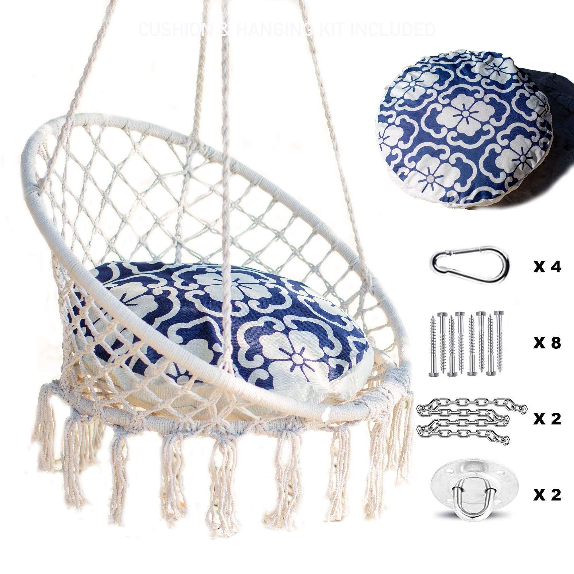 Nooksta Hammock Swing Hanging Chair Macrame Hanging Chair With Included Cushion For Hammock And Hanging In 2020 Hanging Chair Hanging Swing Chair Hammock Chair Stand