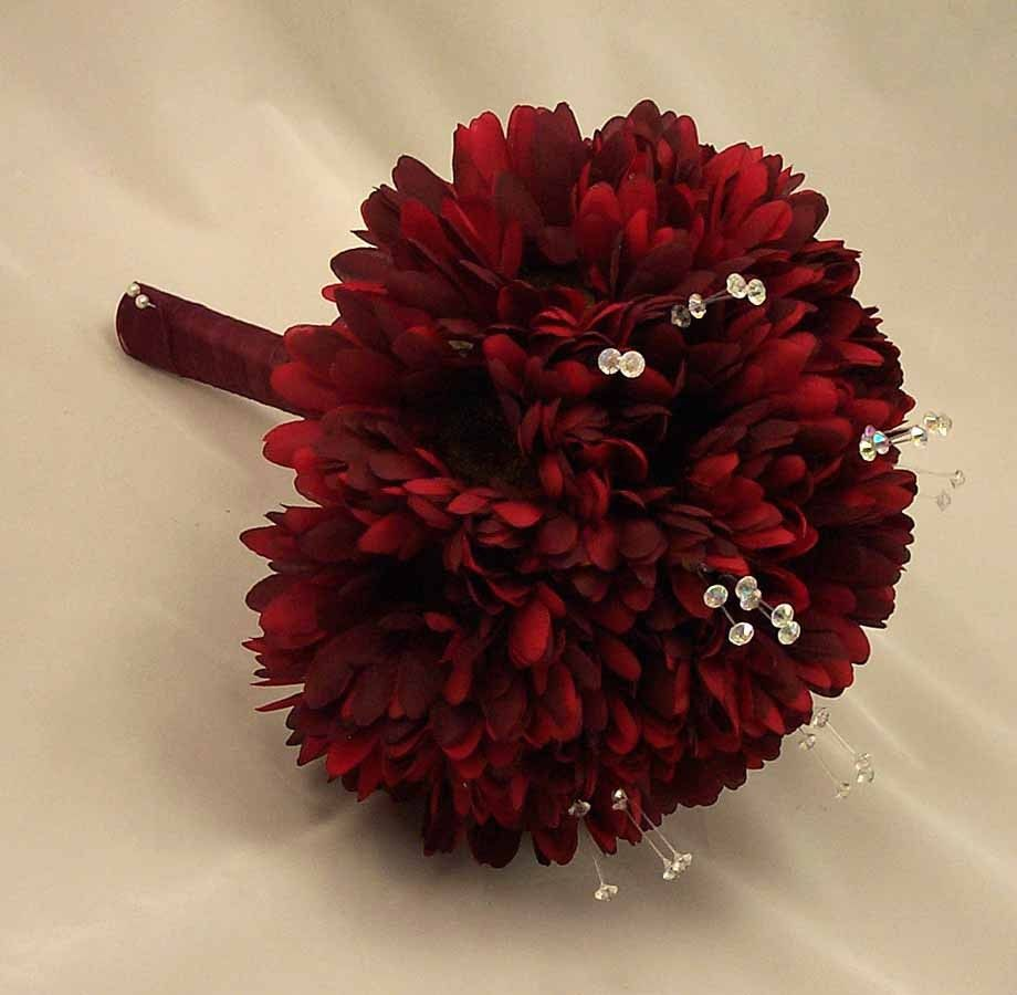 Gerbera Flower Wedding Bouquets: Burgundy Gerbera & Crystal Posy Bouquet