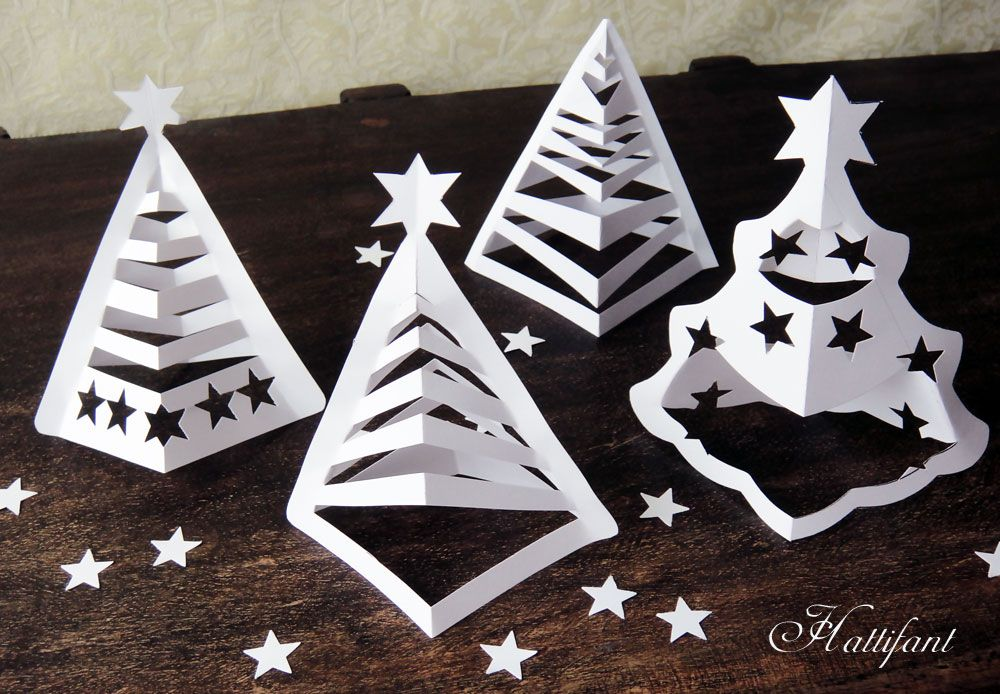 Hattifant - 3D Paper Christmas Trees (includes printables and video  tutorial - - good for