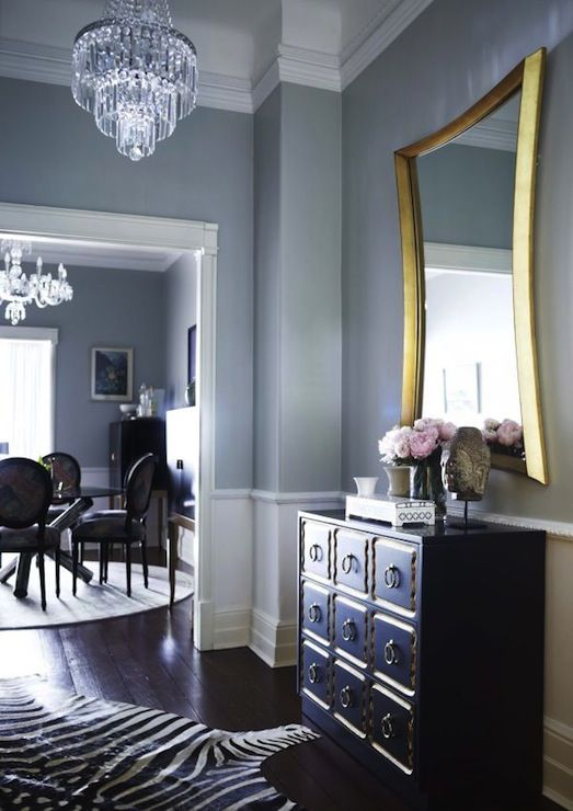Chic Foyer With Blue Gray Wall Color And White Chair Rail With White