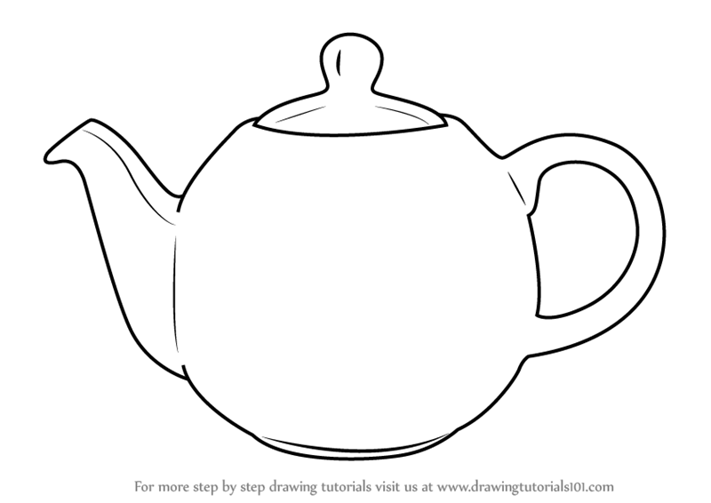 Learn How to Draw a Teapot (Everyday Objects) Step by Step