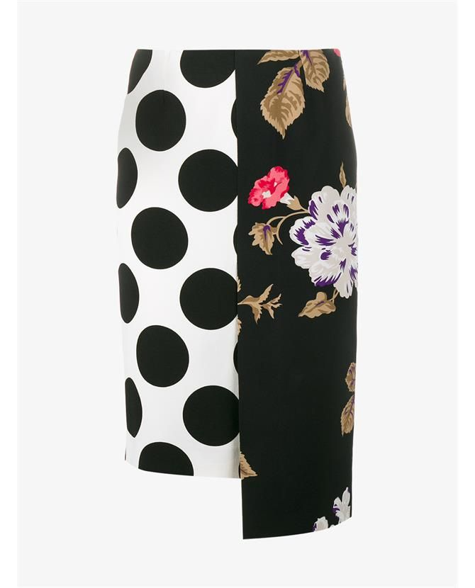 MSGM | Polka Dot Floral Panelled Skirt