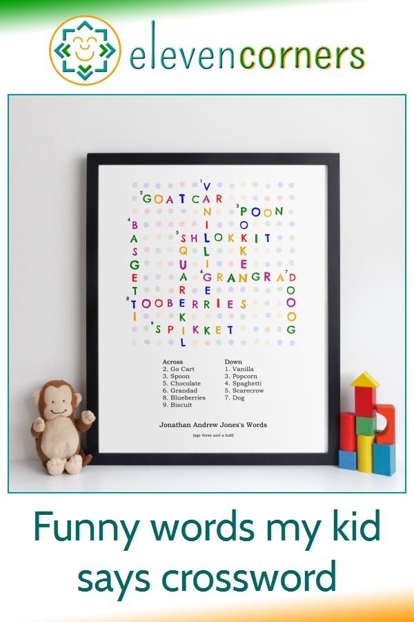, Funny kids words crossword wall art – YOUR childs words and their meanings – gift idea, Anja Rubik Blog, Anja Rubik Blog