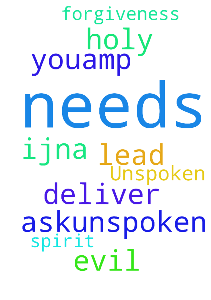 Unspoken, please pray. -  God, I askunspoken needs amp; deliver us from evil. Holy Spirit, lead us. Thank Youamp; for forgiveness, Lord. IJNA  Posted at: https://prayerrequest.com/t/sU4 #pray #prayer #request #prayerrequest