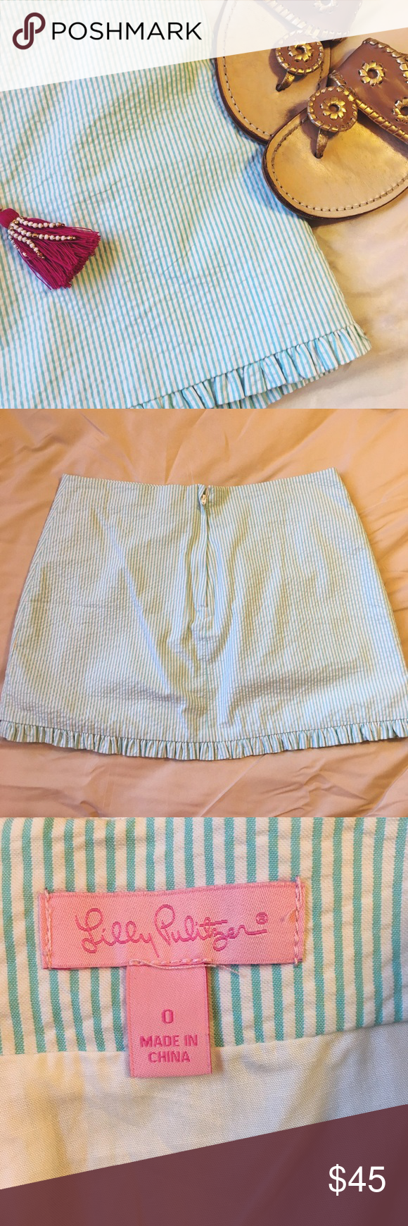 Light Blue Seersucker Lilly Pulitzer Skirt Perfect condition. Seersucker mini skirt. Small ruffle hem. Zipper in the back. 💖 Lilly Pulitzer Skirts Mini