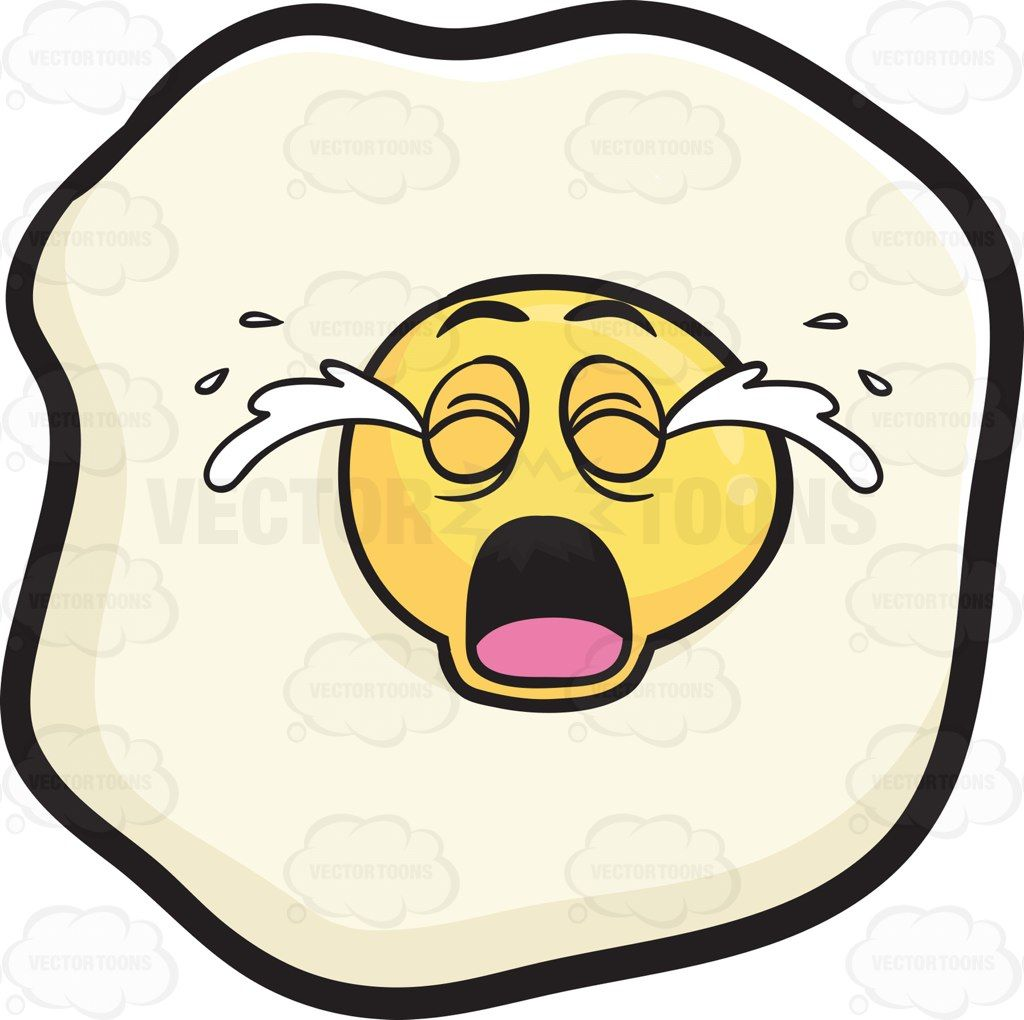 Sunny Side Up Egg Crying Out Loud Emoji Cartoon Clip Art Sunny Side Up Egg Cartoon