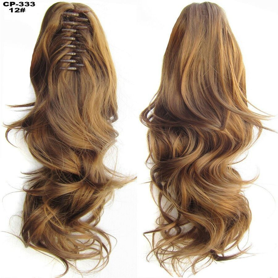 100 Natural Long Ponytail Thick Lady Claw Clip On In Pony Tail