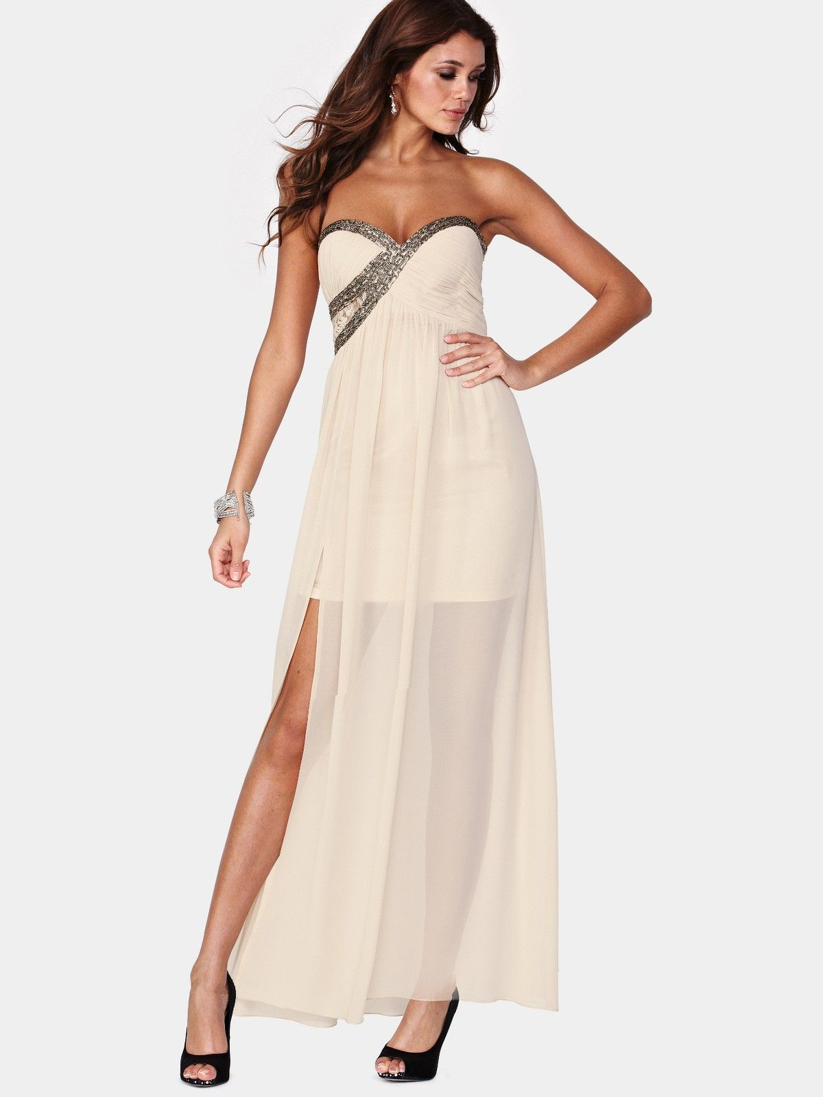 Little mistress embellished maxi dress cream dresses and skirts