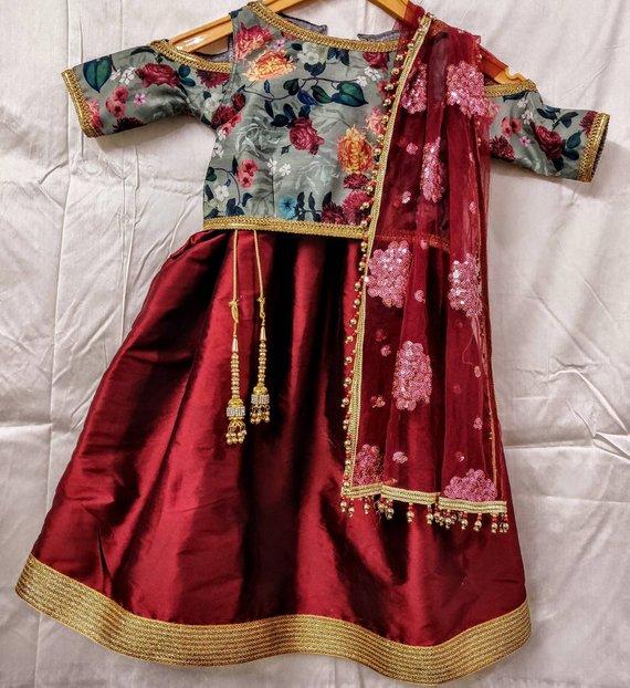 Kids lehenga choli Dupatta Indian Designer Ethnic girls kids festival party wear White embroidered net dress Custom made to measure Lengha