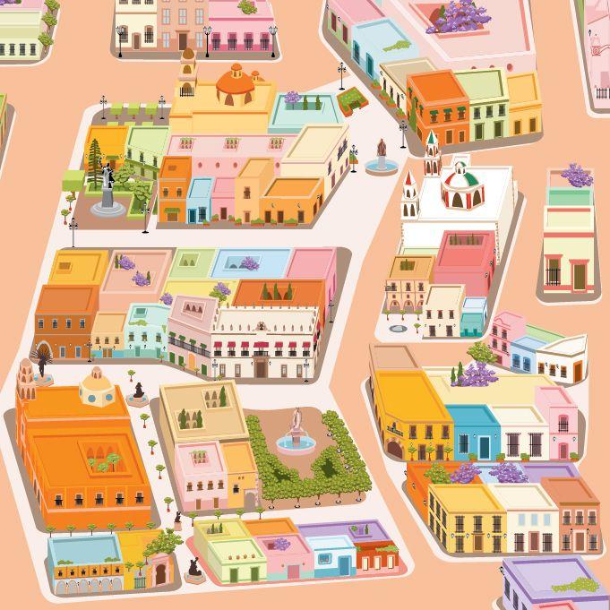 Ilustracion de mapa turistico centro historico queretaro - Centro historico de madrid ...