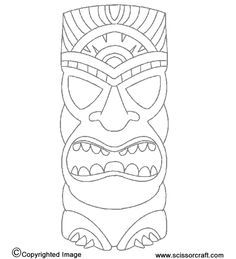 Tiki Statue Print To Make Masks Or Use As Idea For Kids To Use