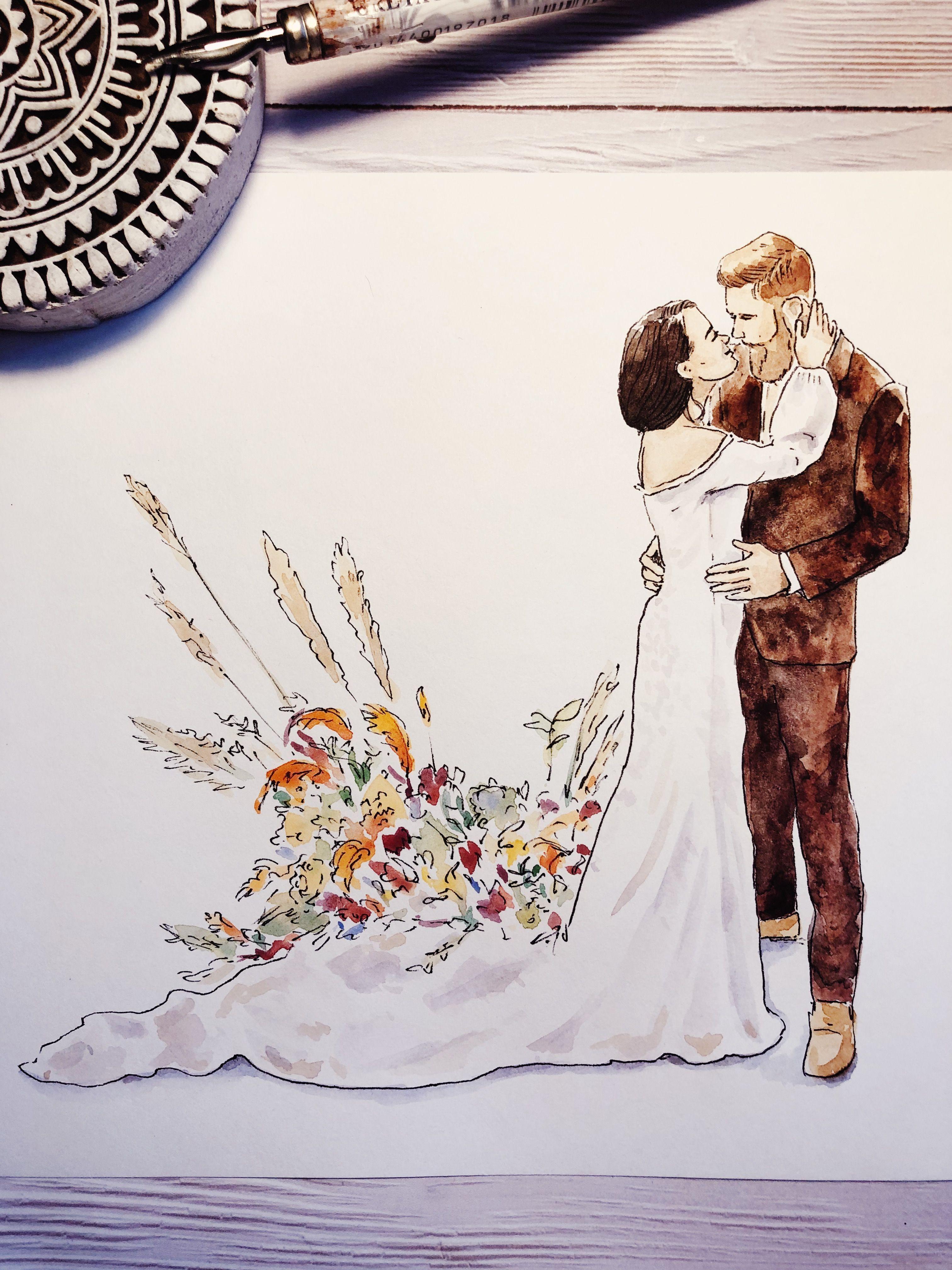 Custom Watercolor Wedding Portrait Illustration By Sasha Weder