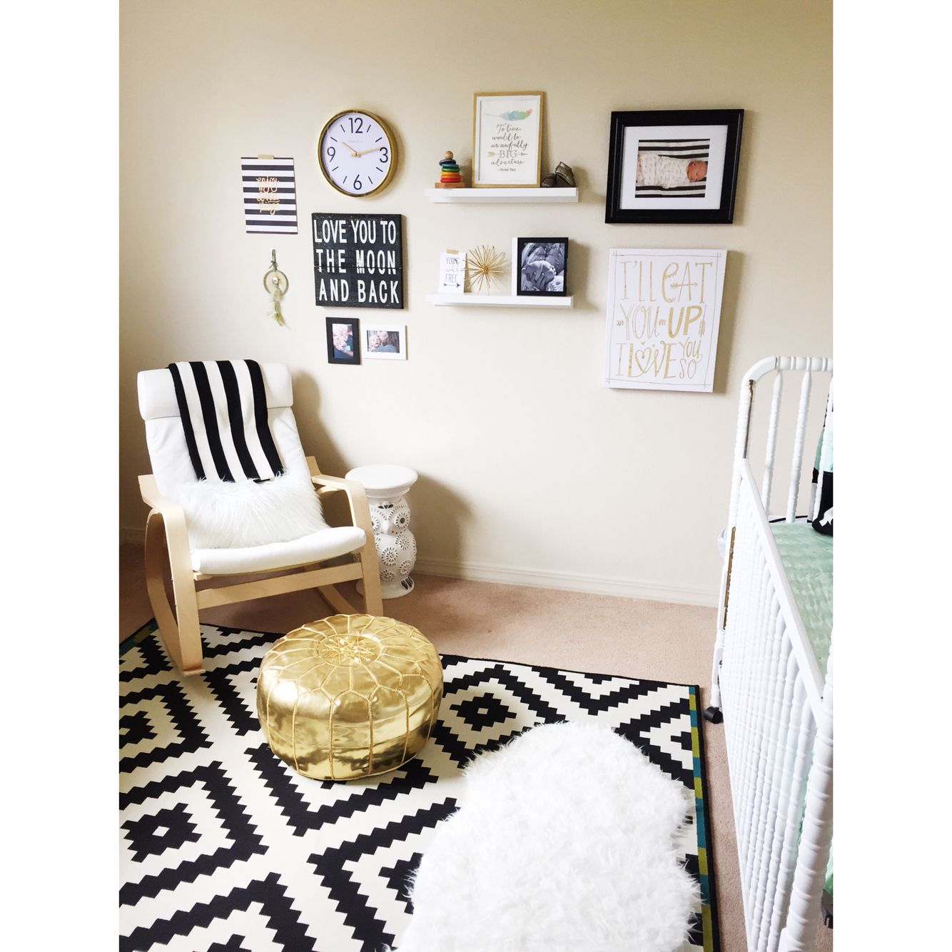 baby Noahs black and white and gold and mint nursery gender