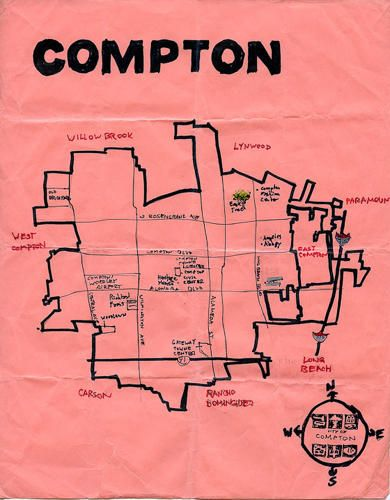 Explore L A With These Charmingly Crude Hand Drawn Maps Compton Compton California How To Draw Hands