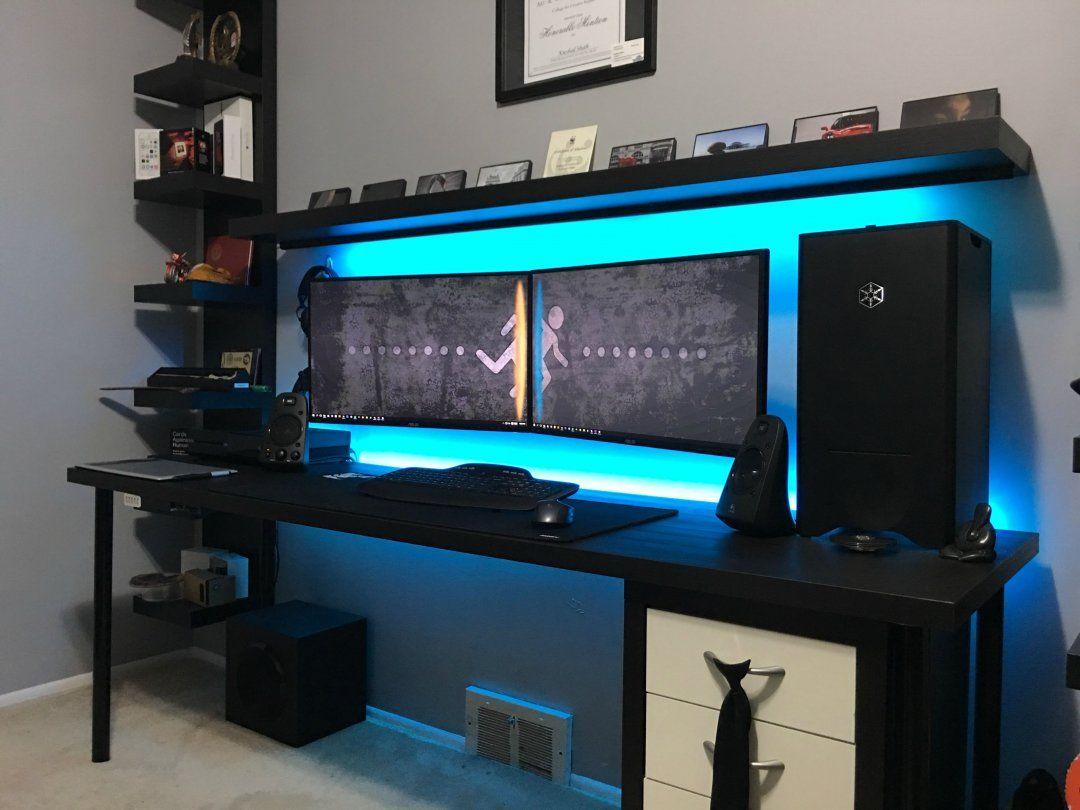 Gaming Setup For Youtube Reddit Mac Setups Battle Station Desk Accessories Definition Home Decor In Best Dual Monitor Setup Gaming Room Setup Diy Computer Desk