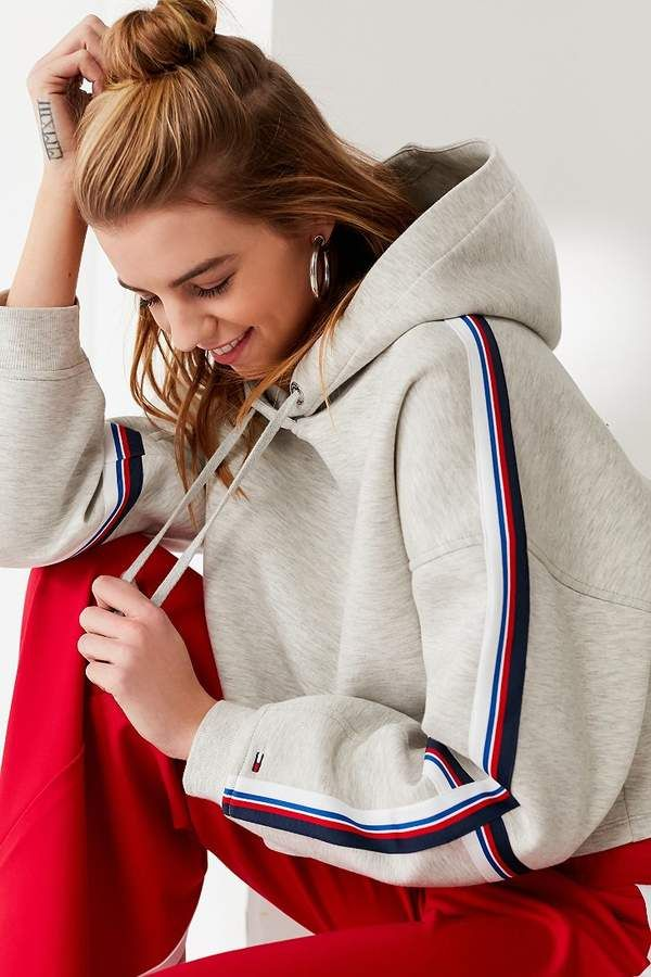0aab6028 Tommy Jeans Striped Cropped Hoodie Sweatshirt | ATHLEISURE SUM 19
