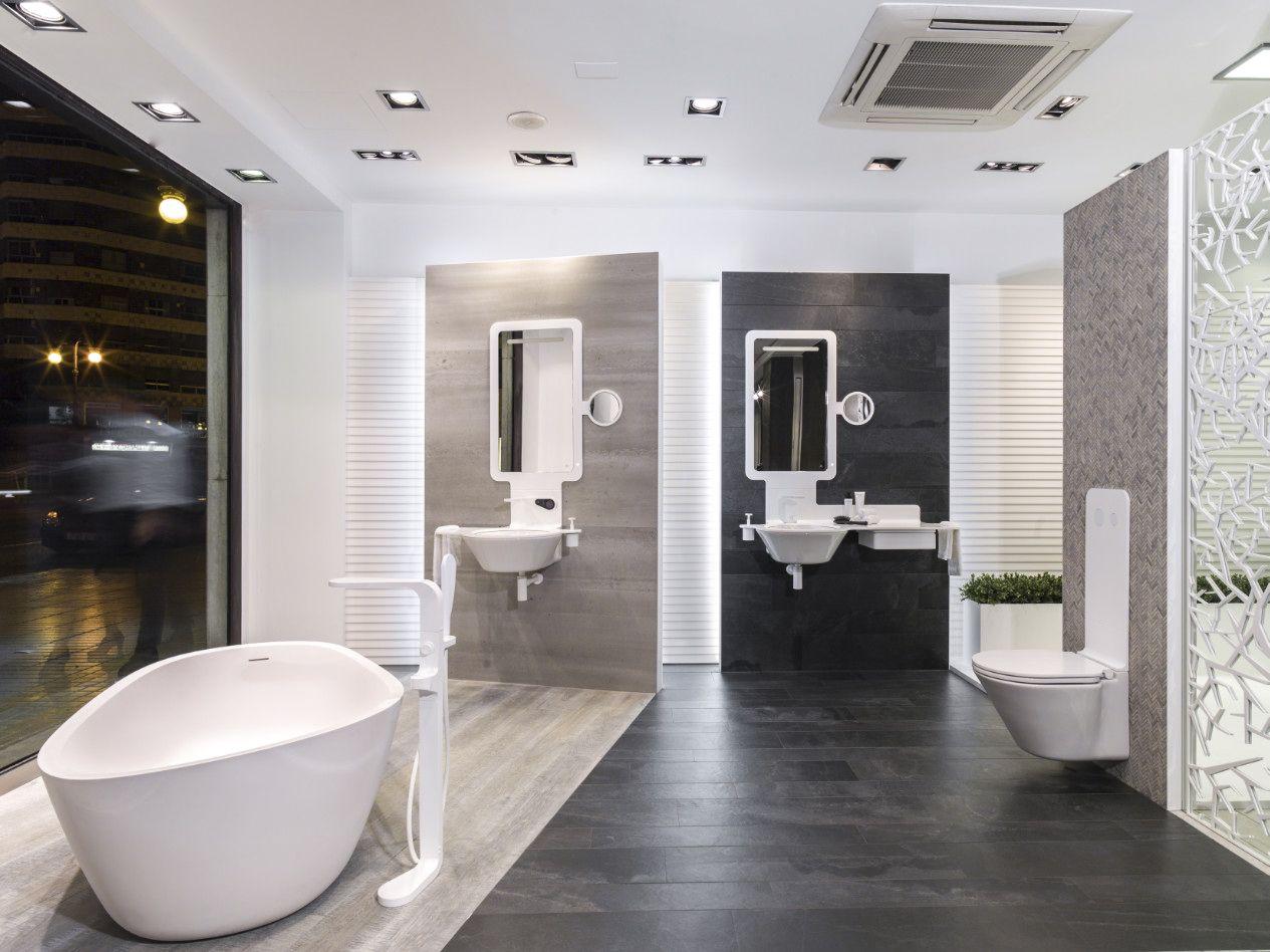 Bathroom showrooms canberra - Krion Blog Porcelanosa Solid Surface Krion Presente En El Showroom De Porcelanosa