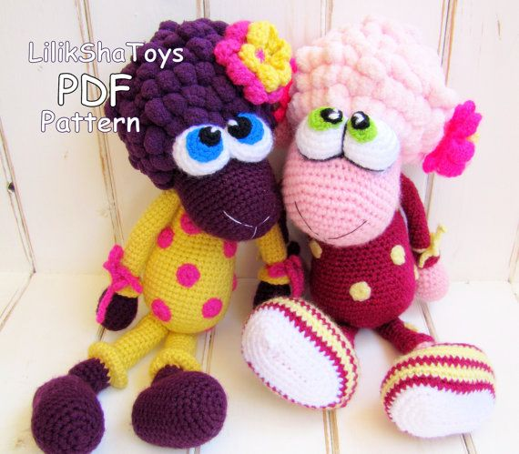 Crochet toy Amigurumi Pattern - Little Sheep in pajamas, with a tiny ...