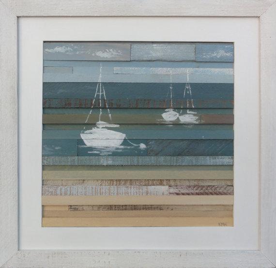 Coastal Horizon Reclaimed Wood Art- Sails II (16 X 16) Beach, Sailboat, Ocean, Aqua, Seaside, Modern Beachy #woodart