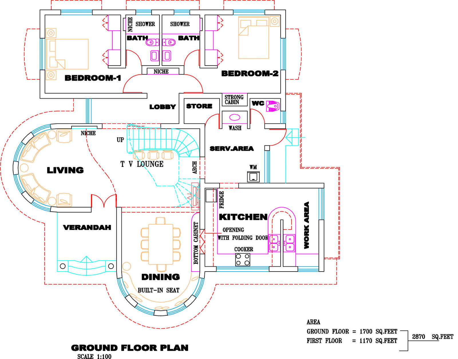 Elevation And Blueprint Of Completed Finished House At Nilambur Part 76