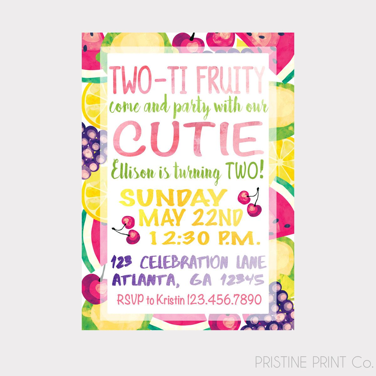 two ti fruity tutti frutti fruit birthday invitation watermelon strawberry farmers market invitation pool party invitation