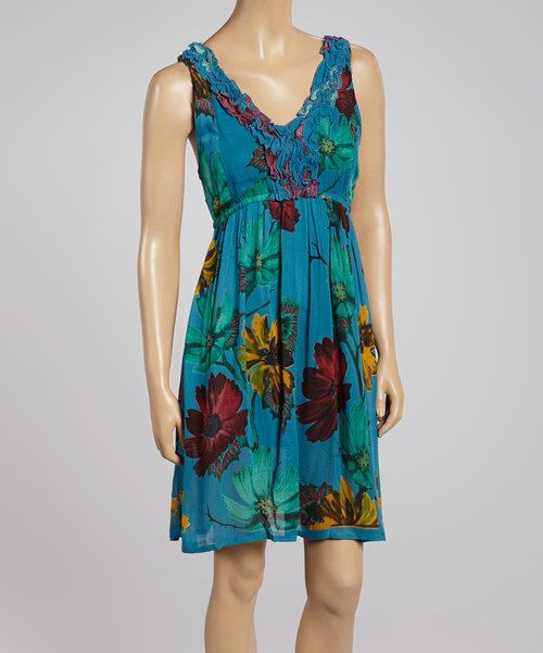 Love this Shabri Fashions Turquoise Lace-Accent Floral Dress by Shabri Fashions on #zulily! #zulilyfinds