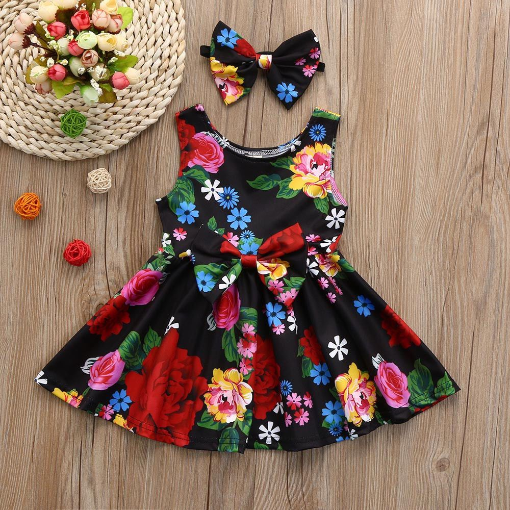 great quality exclusive range classic shoes New Kid Baby Girls Clothes Floral Bowknot Princess Party ...