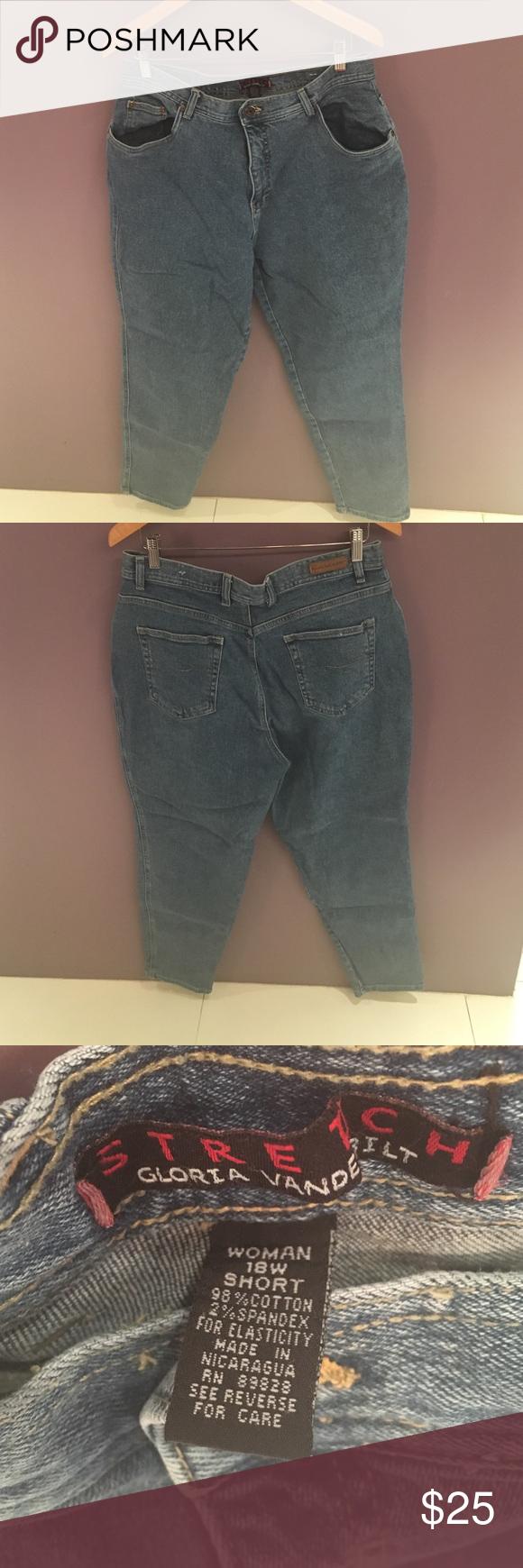 "Denim jeans Gloria Vanderbilt jeans. 5-pocket styling. Size 18W Short. Inseam 26-1/2"". Gloria Vanderbilt Jeans"