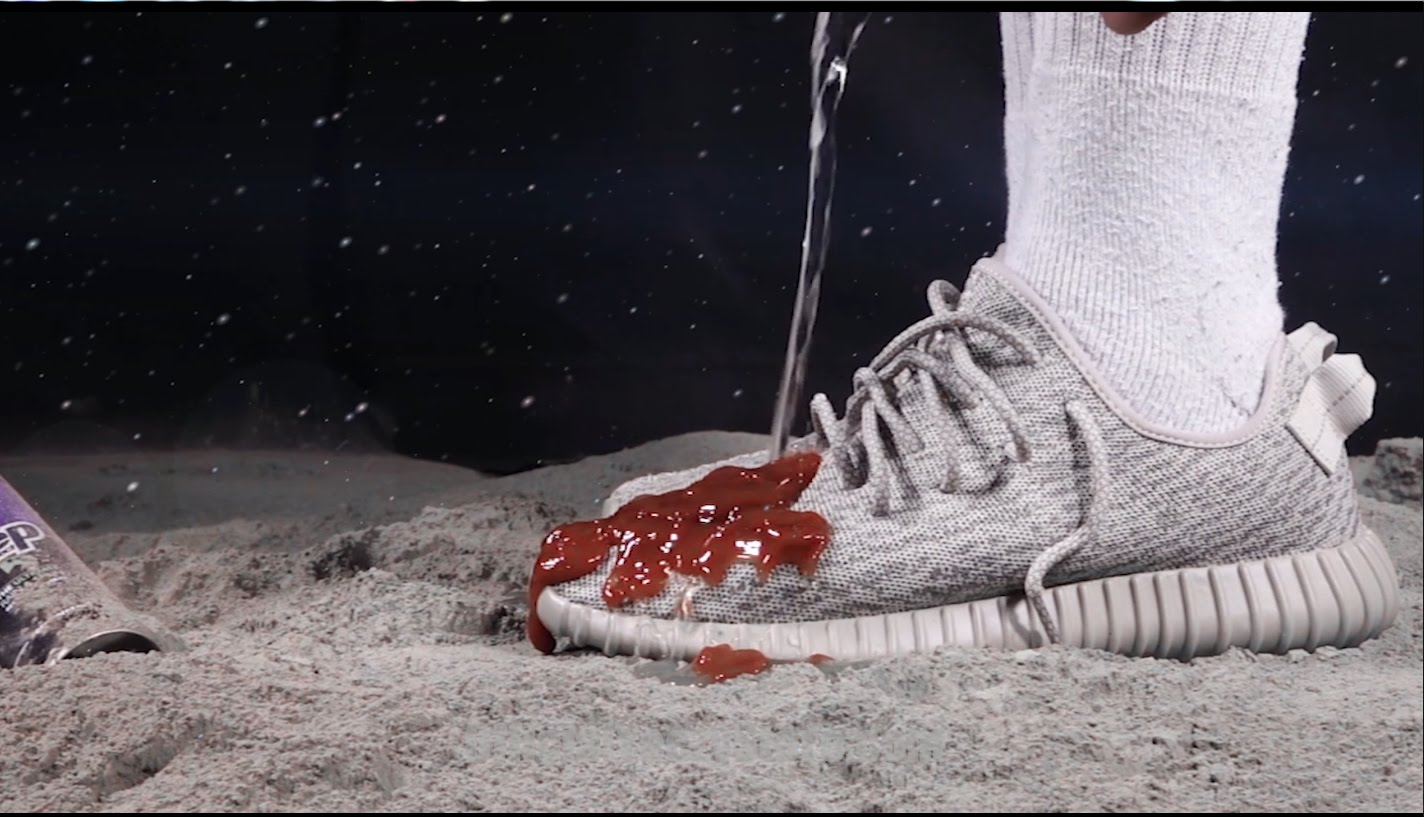 e30fb70732d54 Neil Armstrong does the Ketchup test on his Adidas Yeezy Boost 350 Moon  Rock - Crep Protect