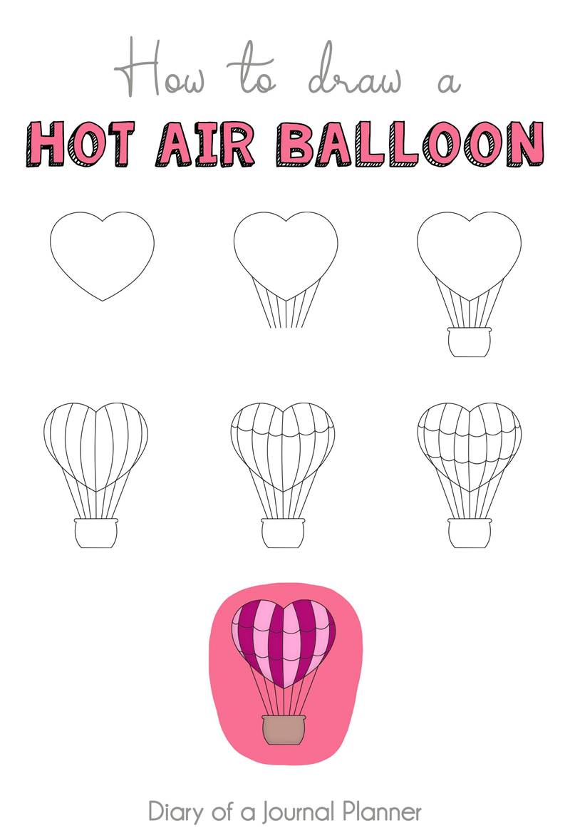 Valentine's Day Doodles (13 love inspired step by step doodle tutorials)  How to draw a hot air balloon doodle, hot air balloon doodle simple, hot air...#air #balloon #day #doodle #doodles #draw #hot #inspired #love #simple #step #tutorials #valentine #valentines