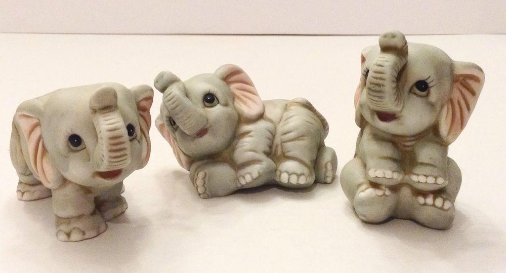 Vintage Set Of 3 Homco Baby Elephant Figurines Decoration Elephant Figurines Ceramic Elephant Baby Elephant