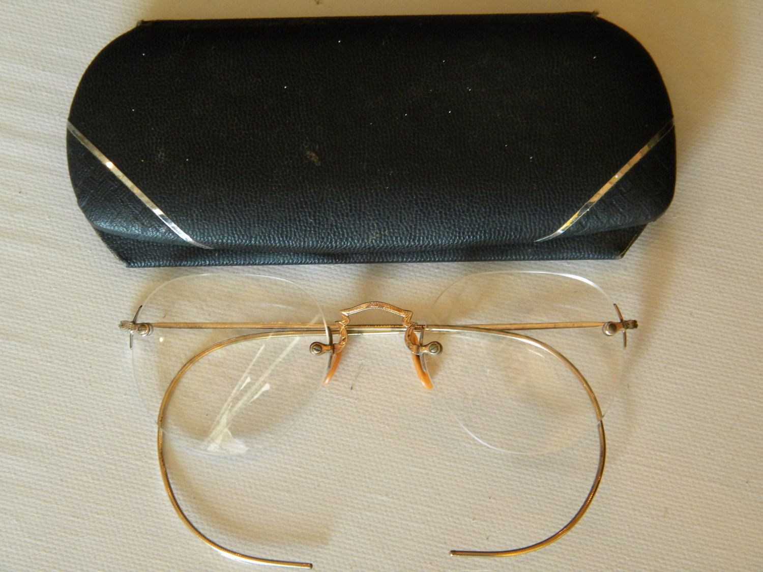 1/10 12k gf Eye Glasses Screwmount with Cable Temples and Case Homer R Gettle Fort Wayne Indiana by EMERALDLAKEJEWELS on Etsy