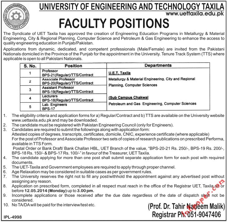 university of engineering and technology taxila faculty positions
