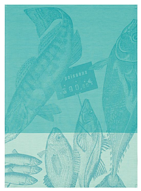 "Beautiful kitchen tea towel design, ""Marché aux Poissons"" #French"