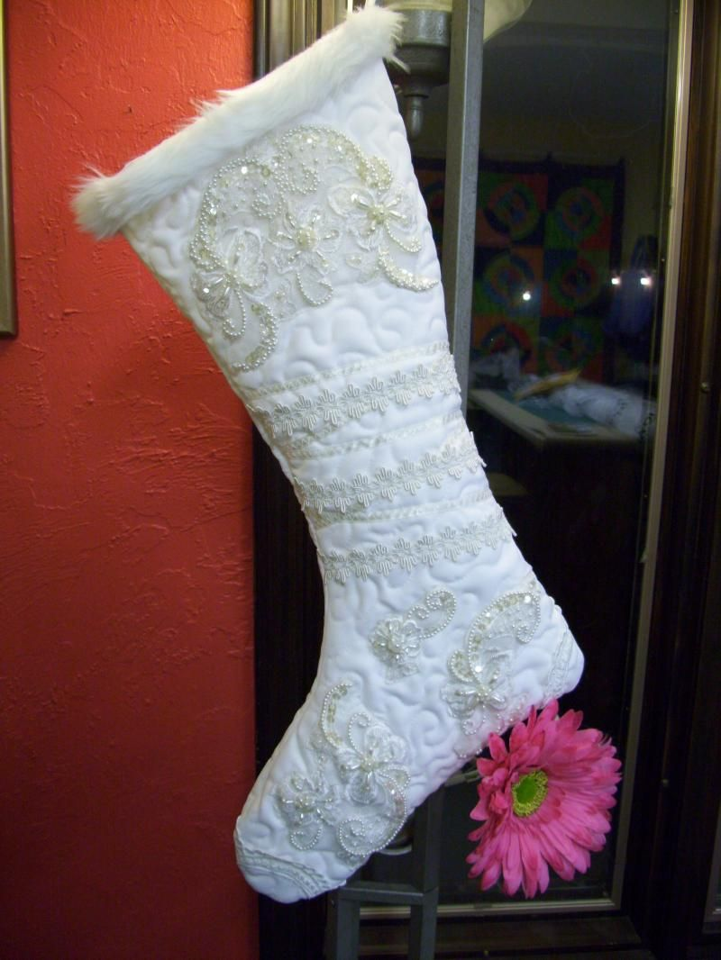 Holiday stocking made out of a wedding dress i want to do this for