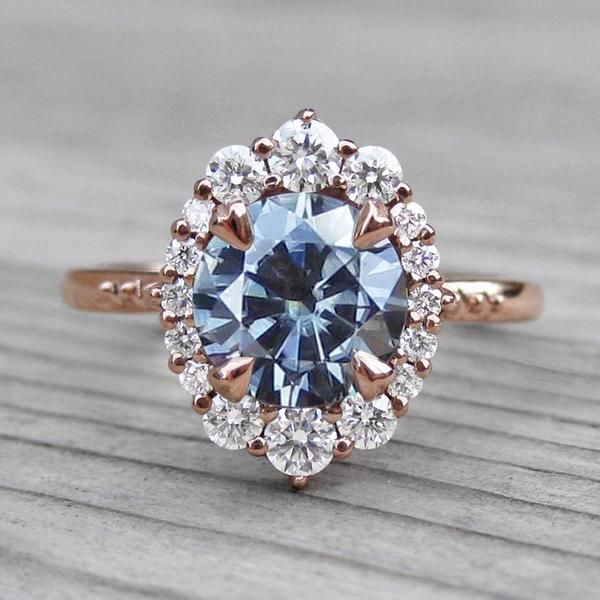 Dark Grey Moissanite Engagement Ring With Diamond Halo 1