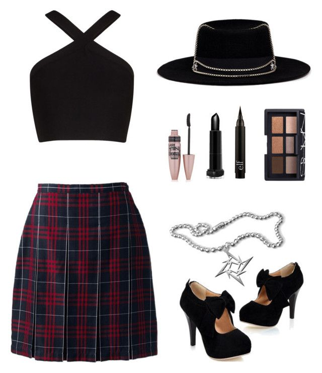 """""""Rock star 🤘🏼"""" by newjessicastyle-2 ❤ liked on Polyvore featuring BCBGMAXAZRIA, Lands' End, Venna, Maybelline and NARS Cosmetics"""