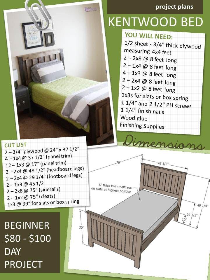 Kentwood Bed Diy furniture plans, Diy twin bed frame