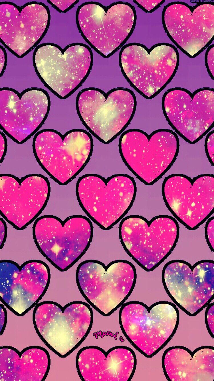 Cute Pink Hearts Galaxy Wallpaper Androidwallpaper