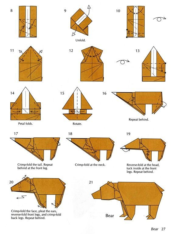 Bear Origami Instructions Craft Pinterest Origami Origami