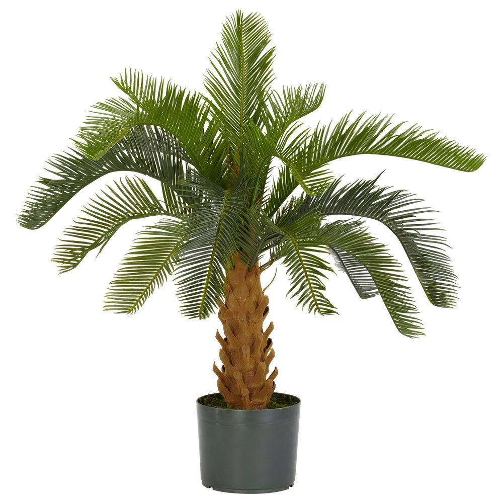 Home Depot Palm Trees Nearly Natural Green Cycas Silk Plant In 2019 Plants Silk