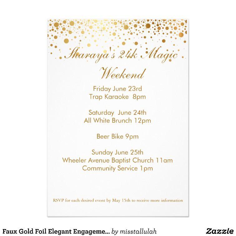 Faux Gold Foil Elegant Engagement Party Invitation | Zazzle ...