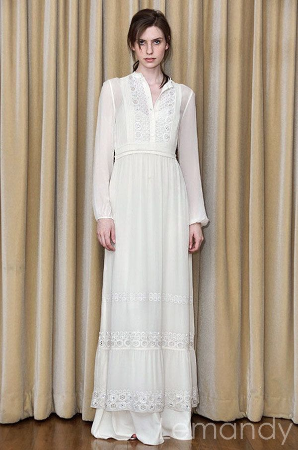 b5fb0d1f4b traditional Europe style long sleeves column chiffon with lace wedding dress  two pieces.  298.00
