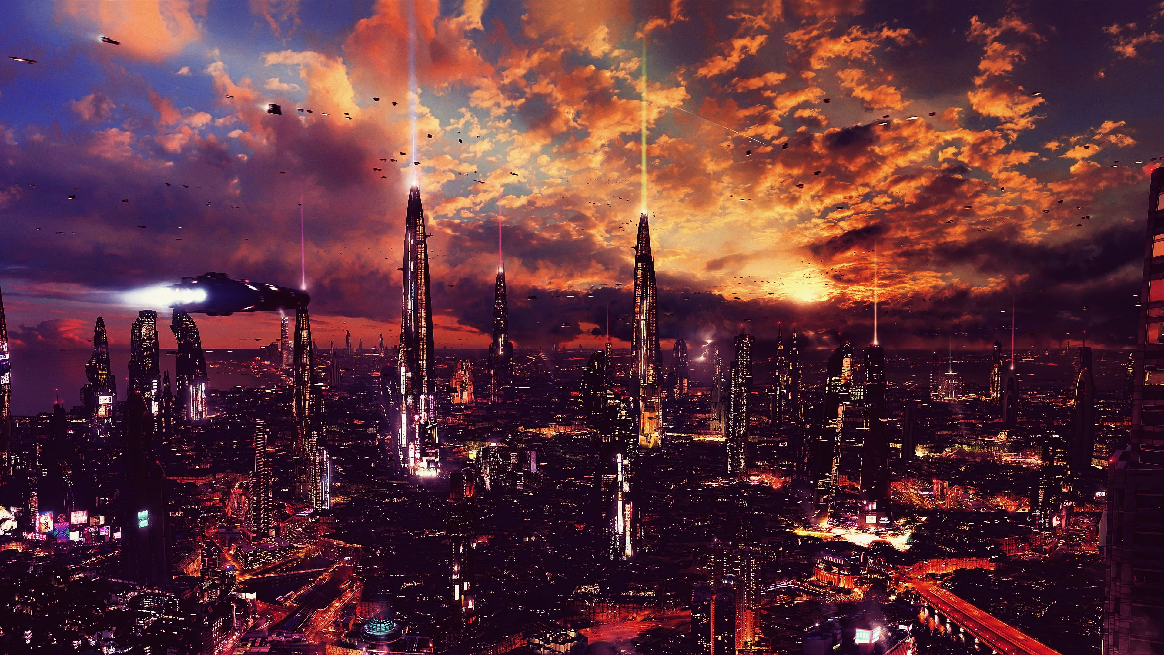Cityscape View Of City During Nighttime Night Artwork Futuristic City Science Fiction Digital Art Concept Art Cityscape Futuristic City Cityscape Wallpaper