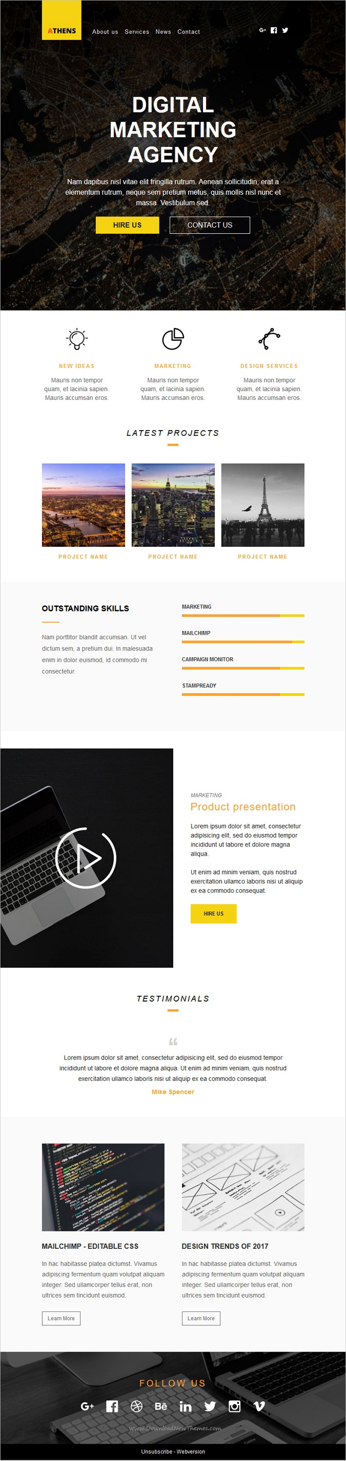 Athens Is A Wonderful Responsive Newsletter Email Template For