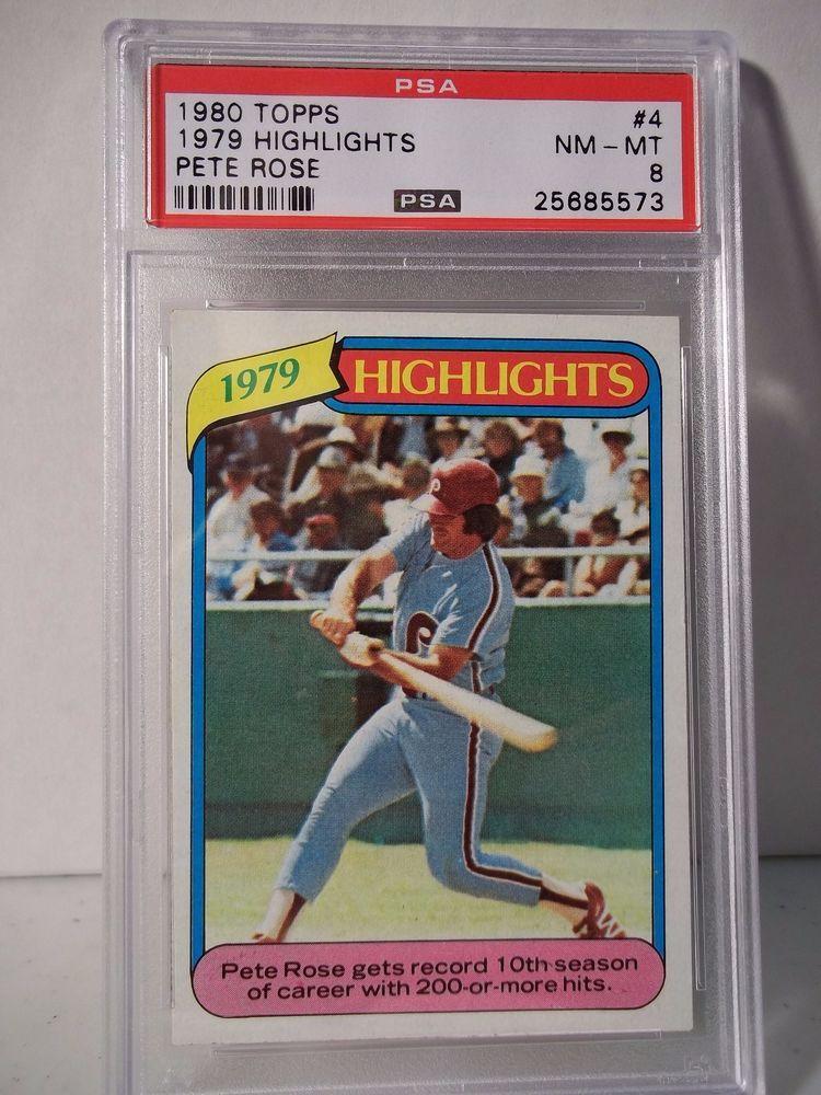 1980 topps pete rose psa nmmt 8 baseball card 4 mlb