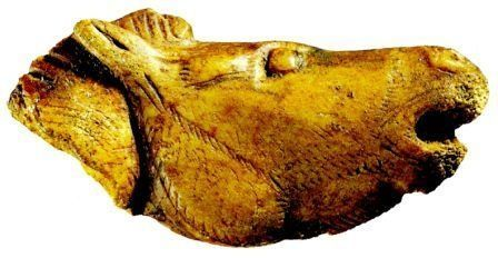 AUTORE: Ignoto NOME:Cavallo che nitrisce DATAZIONE: 12 - 9.000 anni fa circa , MATERIALE E TECNICA: avorio scolpito a tutto tondo LUOGO DI CONSERVAZIONE: Muséè d'Archeologie Nationale di Saint.Germain en Laye.