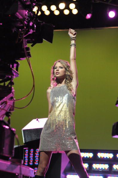 Taylor Swift rocks the crowd during the new Band Hero commercial shoot on October 25 2009 in Los Angeles California