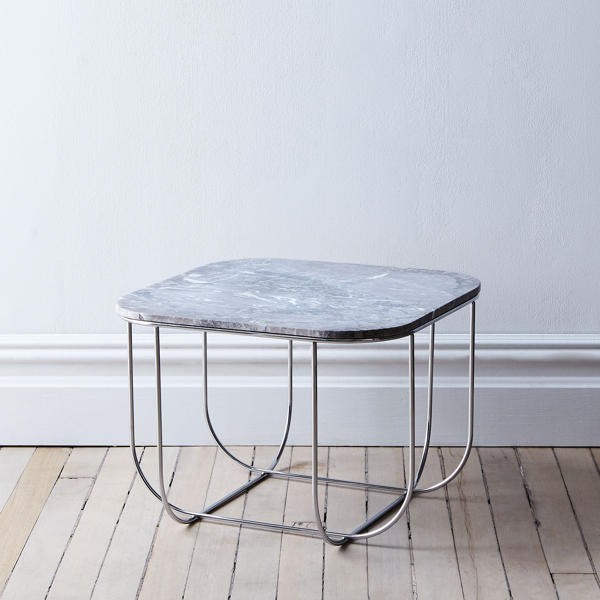 Grey Marble Chrome Cage Table Cage Table Marble Tables Design